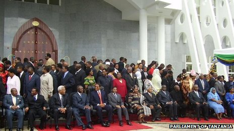 MPs outside parliament in Tanzania - archive shot
