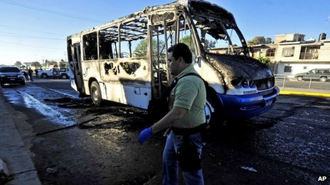 Burnt bus in Zapopan, outside Guadalajara
