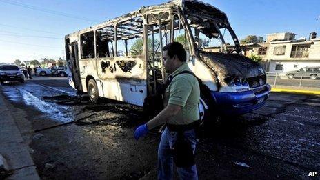 Burnt bus in Zapopan, outside Guadalajara