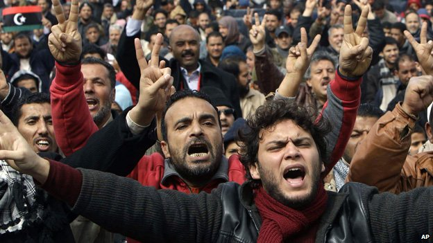 Protestors in Benghazi, 25 February
