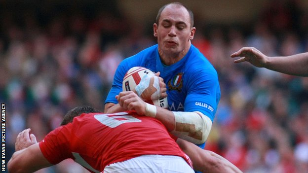 Italy's Sergio Parisse in action against Wales in 2012