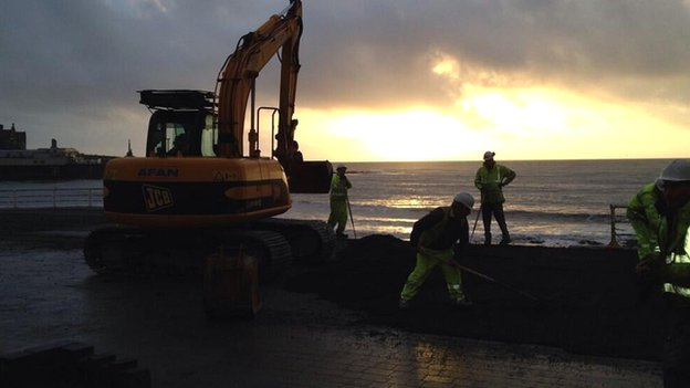Preparations on Aberystwyth seafront