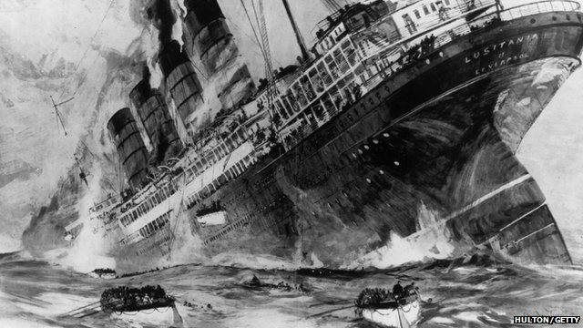 Drawing of The Lusitania sinking