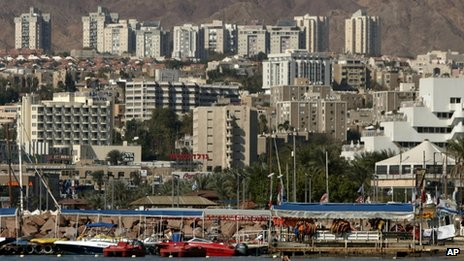 In this January 2007 file photo, a general view of the Red Sea resort city of Eilat is seen in southern Israel on the border with Egypt.