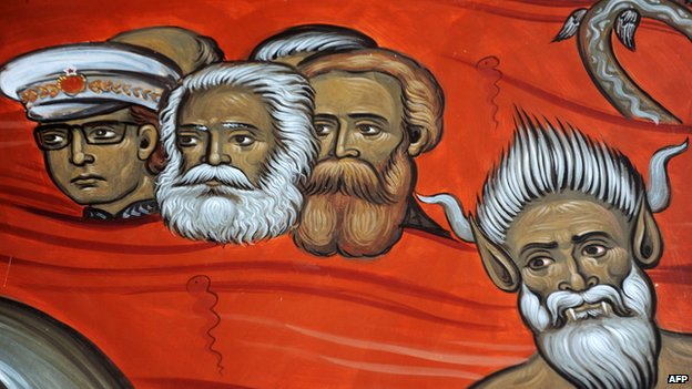 Fresco from church in Podgorica, Montenegro shows Tito, Marx and Engels