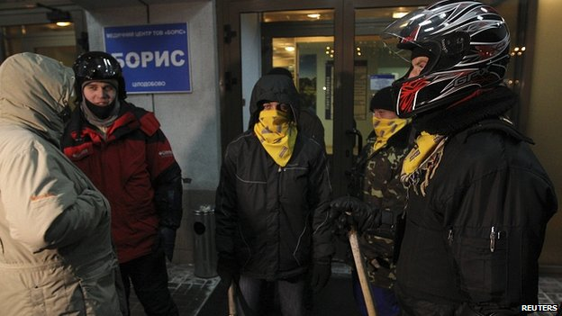 Activists guard the hospital where Dmytro Bulatov is being treated