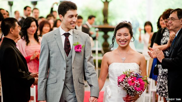 Damjan Vukcevic and Joan Ko on their wedding day