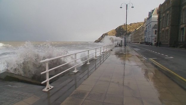 Waves hitting Aberystwyth seafront