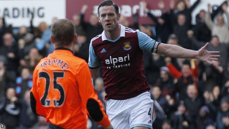 Kevin Nolan (right) celebrates scoring for West Ham