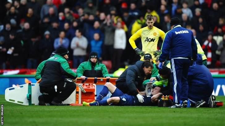 Phil Jones receives treatment for an injury