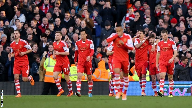 Adam Lallana (second right) is congratulated after scoring