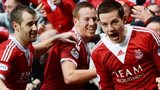 Peter Pawlett (right) celebrates his goal for Aberdeen