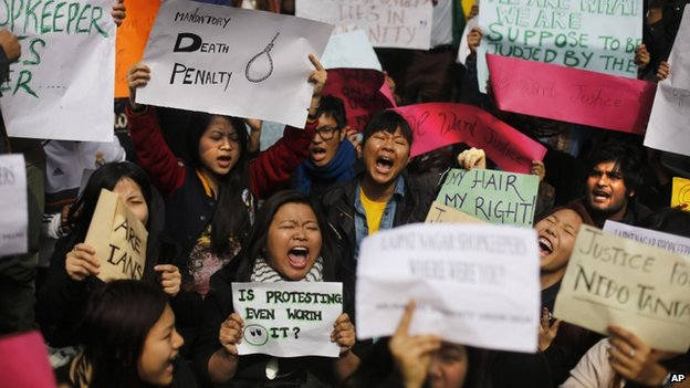 Protesters - mostly students from north-eastern states of India - shout slogans during a protest in Delhi, India, on 1 February 2014