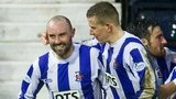 Kris Boyd is congratulated on his late goal