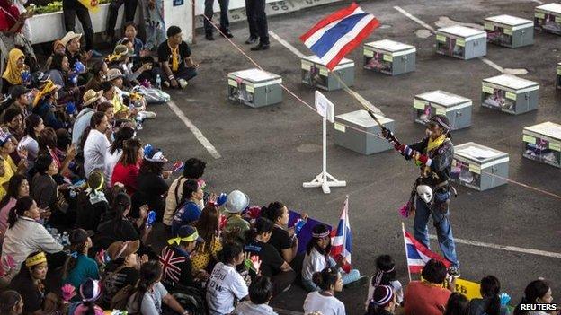 Anti-government protesters in Bangkok, 2 Feb