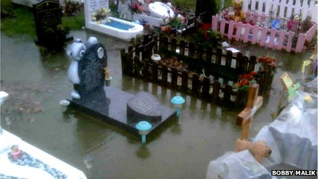 The flooded children's' cemetery in 2010