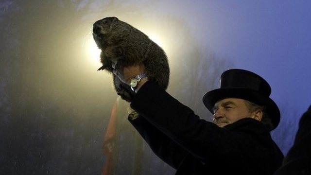 Groundhog handler John Griffiths holds Punxsutawney Phil after he saw his shadow predicting six more weeks of winter