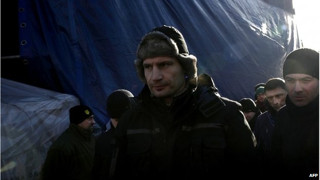 Vitali Klitschko walks out after his speech on Independence Square in Kiev on February 2