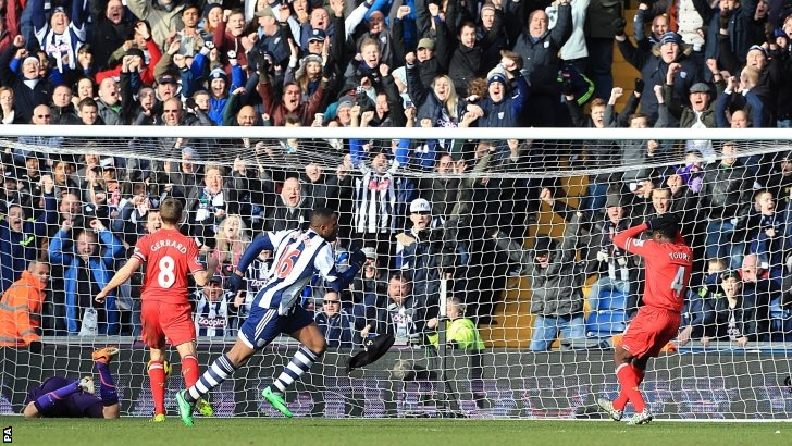 West Brom equalise against Liverpool