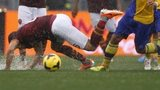 AS Roma midfielder Kevin Strootman of Belgium falls on the pitch