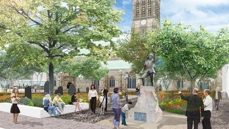 Artist's impression of plans to revamp Leicester's Cathedral Quarter
