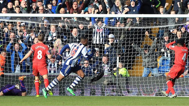 West Brom striker Victor Anichebe (right) wheels away to celebrate after his goal against Liverpool