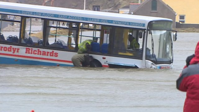 Bus stuck in water