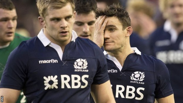 Scotland players show their disappointment