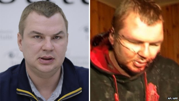 Dmytro Bulatov before and after his alleged torture