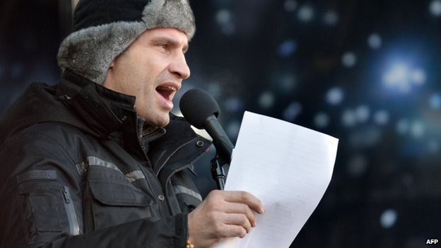 Vitali Klitschko speaches during the mass rally of the anti-government opposition in Kiev on February 2
