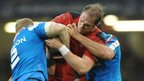 There's no way through for Wales captain Alun Wyn Jones against Italy at the Millennium Stadium