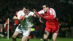 Tyrone's Darren McCurry and Derry's Declan Brown