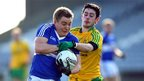 David Conway and Frank McGlynn vie for possession as Donegal overpower Laois 2-19 to 1-9 in Division Two