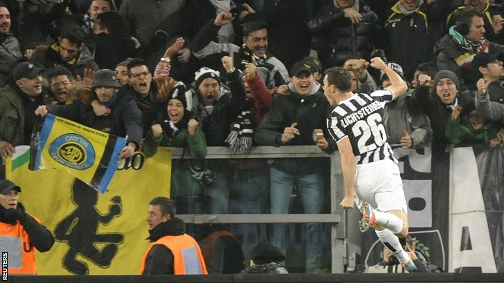 Juventus' Stephan Lichtsteiner celebrates after scoring against Inter Milan