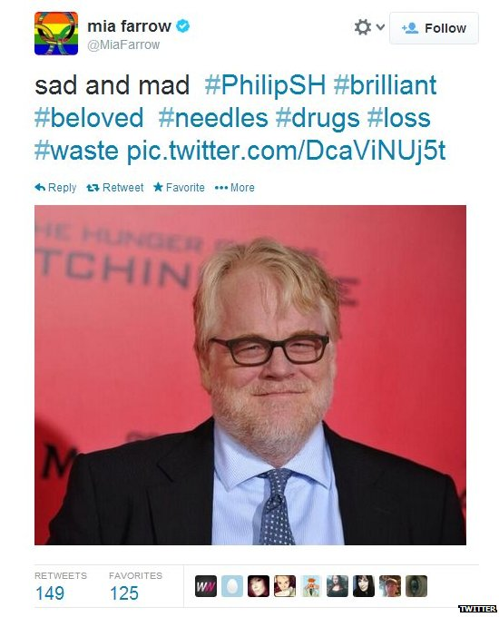 Mia Farrow's tweet on Philip Seymour Hoffman's death