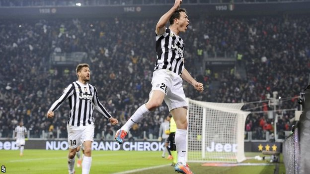 Juventus defender Stephan Lichtsteiner, of Switzerland, celebrates after scoring a goal during a Serie A match against Inter Milan