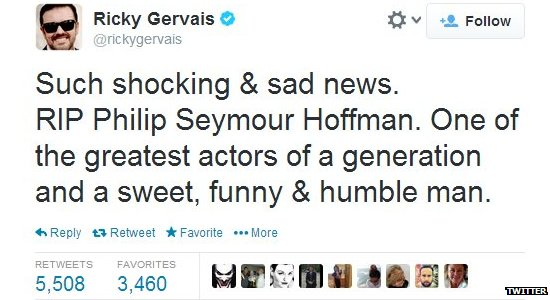 Ricky Gervais's tweet