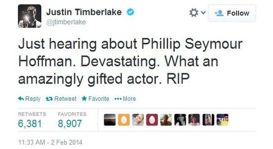 Justin Timberlake's tweet