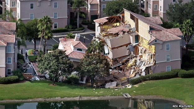 Building collapse due to sinkhole near Clermont Florida