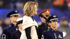 Opera singer Renee Fleming sings the national anthem before the Seattle Seahawks take on the Denver Broncos during Super Bowl XLVIII at MetLife Stadium