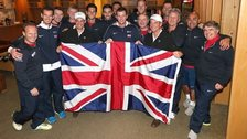 Great Britain celebrate their Davis Cup victory against USA in San Diego