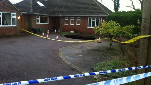 Cordoned off sink hole