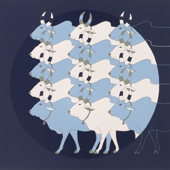 Painting of series of bulls in blue and white, layered over a large circle in dark blue background