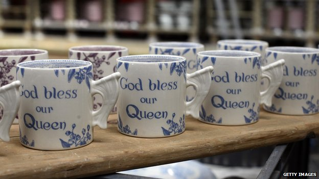 Burleighware cups celebrating the Queen's Diamond jubilee