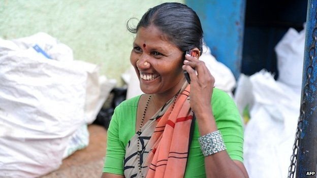 File photo of Indian woman talking on phone