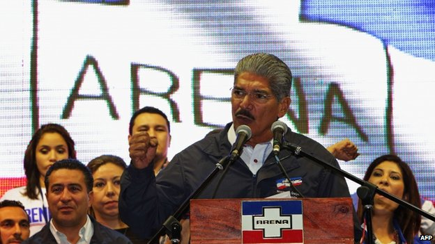 Salvadoran presidential candidate for the National Republican Alliance party, Norman Quijano, speaks to supporters on 2 February 2014