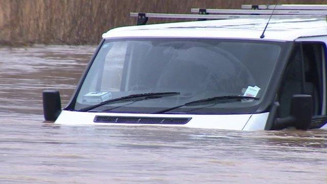 Van caught in floods in Essex