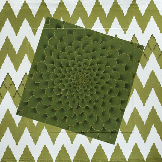 Abstract painting in green and white - floral motif in foreground, zig zag design in background