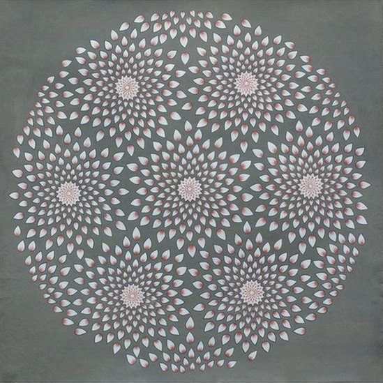 Abstract painting in grey, pink and white, flowers arranged in a circular pattern