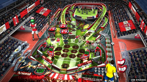 Zen Studios Super League Football game showing Arsenal